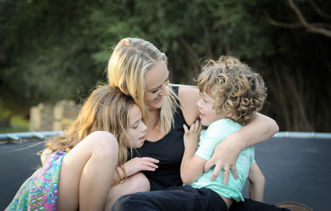 Monique Cain with her daughter and son
